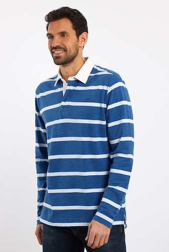 Marshaw Striped Rugby Shirt Dark Navy