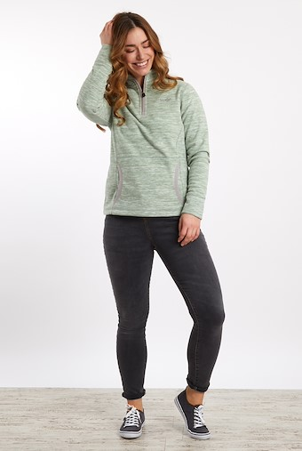 Nancy 1/4 Zip Melange Fleece Sweatshirt Silver Sage
