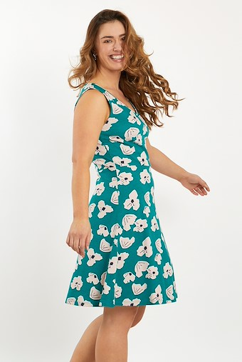 Paisley Sleeveless Patterned Jersey Dress Deep Teal