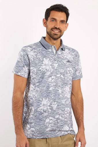 Pascoe Floral Print Polo Shirt Navy