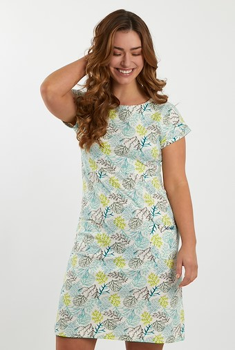 Tallahassee Patterned Cotton Jersey Dress Cream
