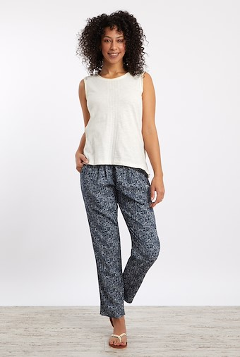 Tinto Patterned Harem Trousers Indigo