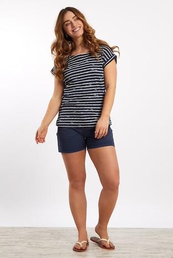 Thandi Patterened Cotton Jersey T-Shirt Dark Navy