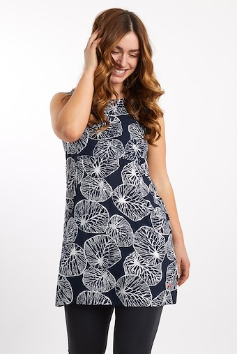Sachi Printed Lightweight Tunic Dark Navy