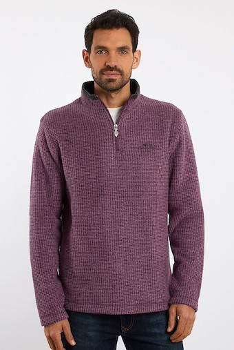 Newark 1/4 Zip Grid Fleece Sweatshirt Plum