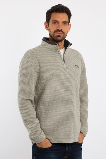 Newark 1/4 Zip Grid Fleece Sweatshirt Safari