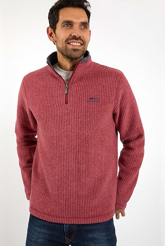 Newark 1/4 Zip Grid Fleece Sweatshirt Chilli Pepper