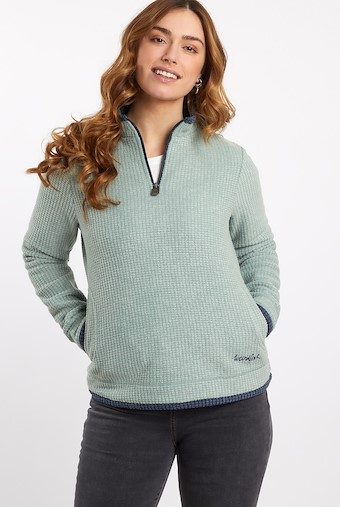 Beyonce Grid Fleece Sweatshirt Silver Sage