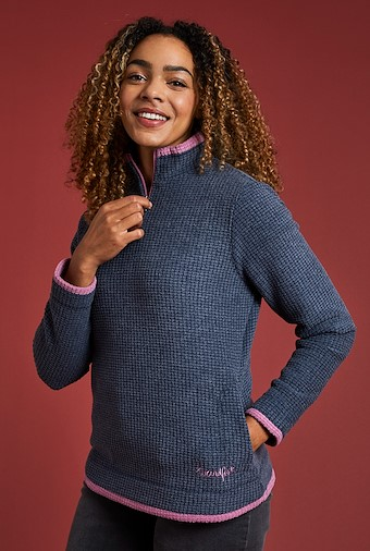 Beyonce 1/4 Zip Grid Fleece Sweatshirt Navy
