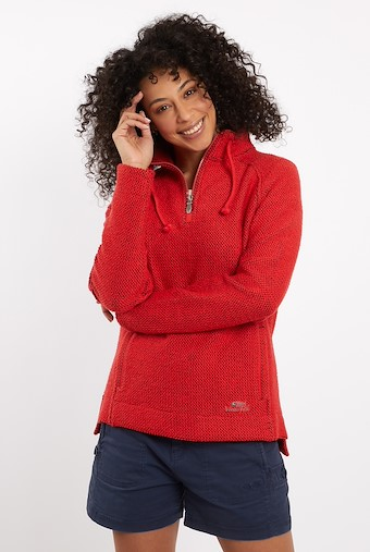 Geranium 1/4 Zip Macaroni Sweatshirt Radical Red