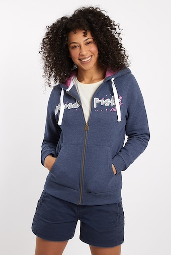 Corinne Branded Zip Through Hoodie Dark Navy