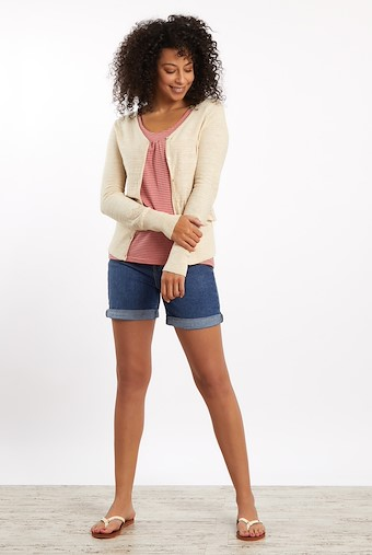 Curran Plain Cotton Cardigan Chalk