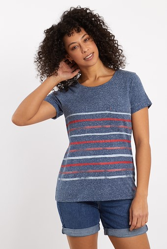 Faith Striped T-Shirt Dark Navy
