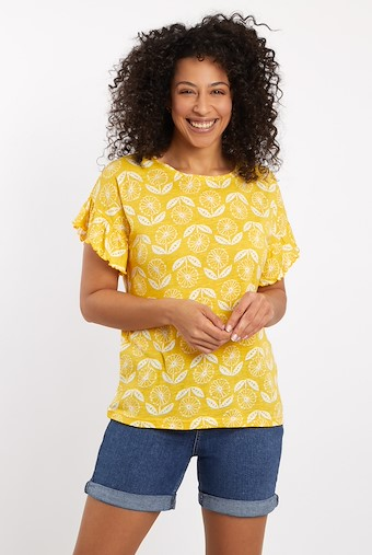 Hazel Patterned Jersey T-Shirt Sunshine Yellow