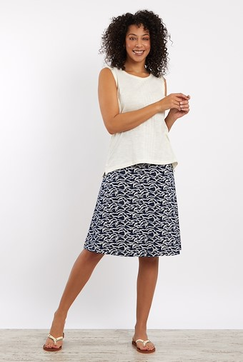 Malmo Patterned Jersey Skirt Dark Navy