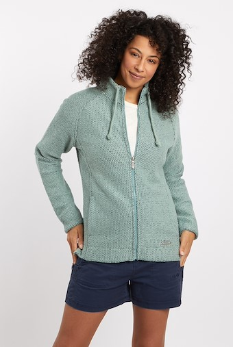 Holly Full Zip Classic Macaroni Sweatshirt Silver Sage