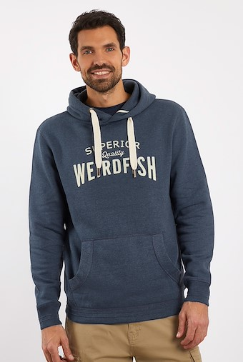 Quentin Graphic Popover Hoodie Navy Marl