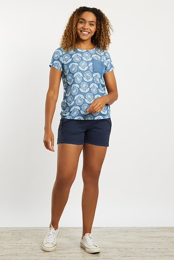 Rose Patterned Tencel Top Light Denim