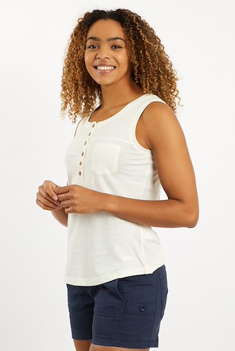 Skye Slub Cotton Vest Light Cream