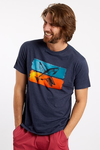 Fish Surf Graphic T-Shirt Navy