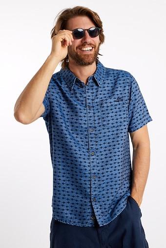 Crosby Printed Tencel Shirt Light Denim