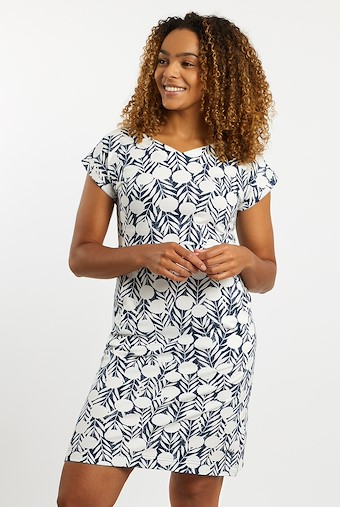 Biscayne Printed Jersey Dress Dark Denim
