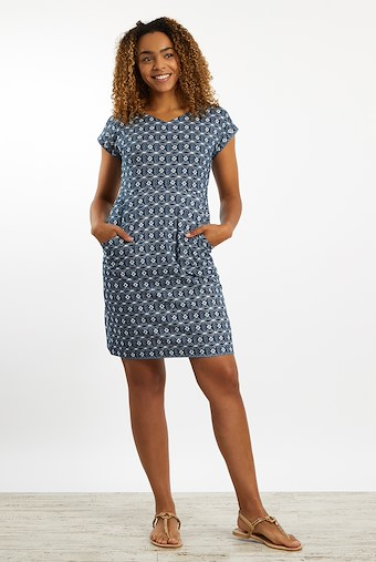 Biscayne Printed Jersey Dress Ink