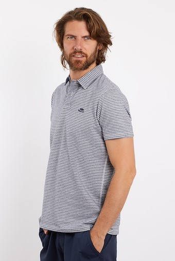 Irvine Striped Polo Navy