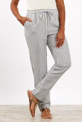 Portsea Stripe Linen Trousers Light Cream