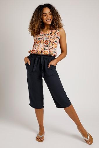 Hayling Linen Rich Crop Trouser Navy