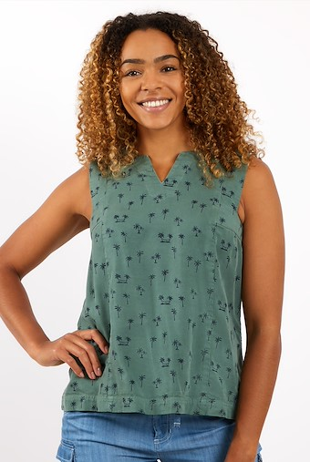 Mousa Printed Tencel Vest Army Green