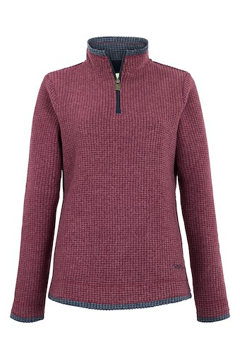 Beyonce 1/4 Zip Grid Fleece   Plum