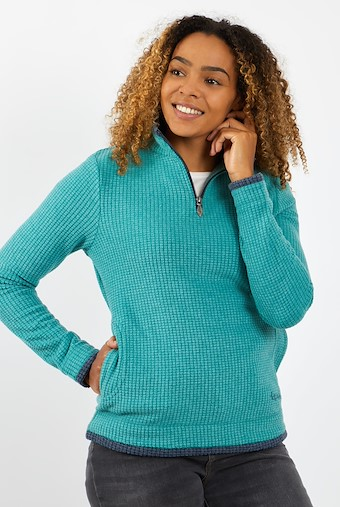 Beyonce 1/4 Zip Grid Fleece   Deep Teal