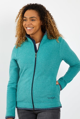 Ariana Full Zip Grid Fleece Deep Teal