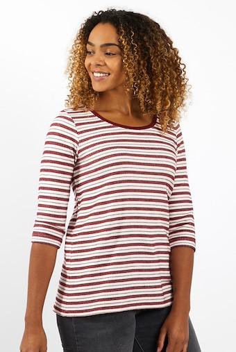Gillian Striped T-Shirt Rich Red