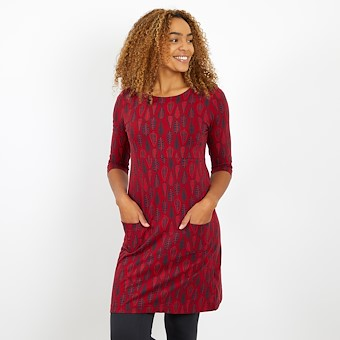 Starshine Printed Jersey Dress Rich Red