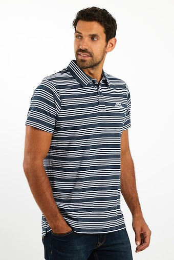 Lapford Striped Polo Navy
