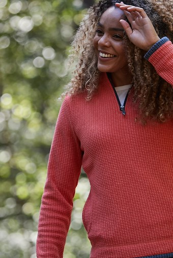 Beyonce 1/4 Zip Grid Fleece   Burnt Orange