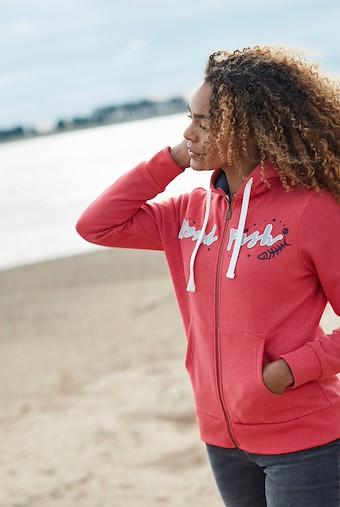 Corinne Branded Zip Through Hoodie Radical Red
