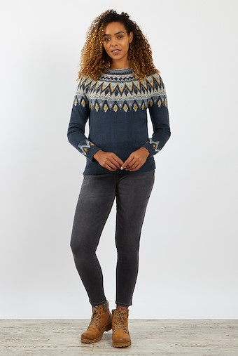 Liza Fair Isle Knit Jumper Navy