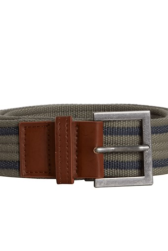 Alby Striped Webbing Belt Khaki Grey