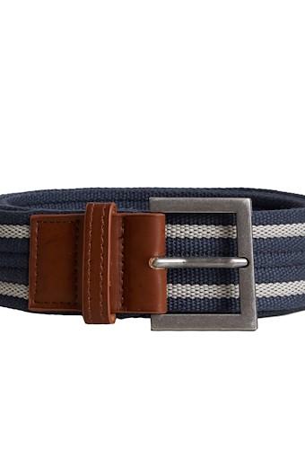Alby Striped Webbing Belt Navy