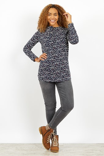 Archu Printed Jersey T-Shirt Dark Navy