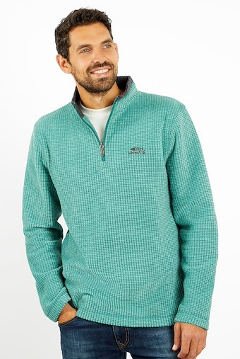 Newark 1/4 Zip Grid Fleece Dark Green
