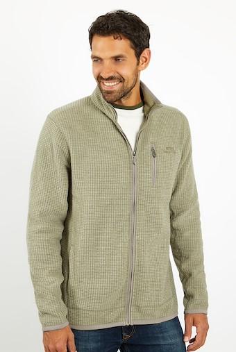 Rossten Full Zip Grid Fleece Khaki Grey