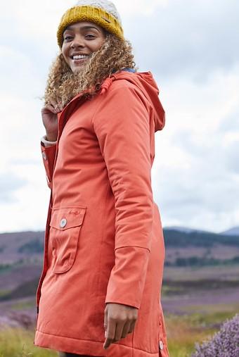 Beatrix Waxed Finish Waterproof Coat Burnt Orange