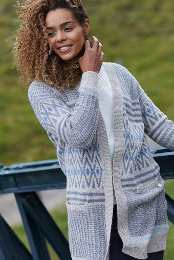 Lipa Fair Isle Long Knit Cardigan Chalk