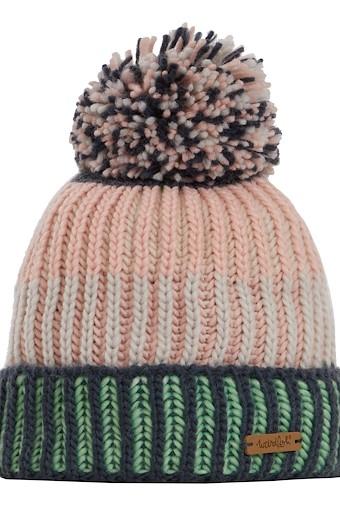 Nemi Striped Rib Knit Bobble Hat Pearl Grey