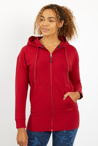 Aphrodite Bamboo Long Line Hoodie Rich Red
