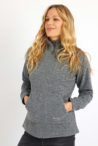 Pippy Full Zip Diamond Microfleece Grey Marl